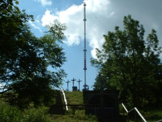 Transmission tower and transmitter system of the Bavarian Radio on the summit plateau