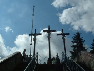 Popular vantage point - the three Golgotha crosses, station of the Way of the Cross