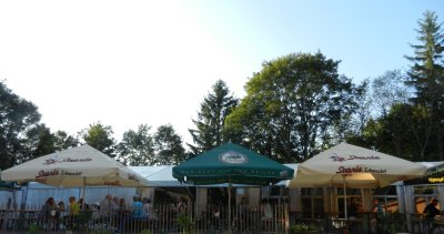 Beer tables and tent on the mountain house Rhone
