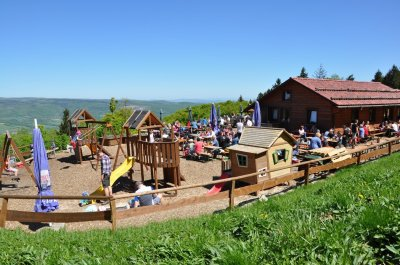 Beer garden and playground surrounded by nature