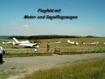 Airfield with takeoff and landing places for sailing and motor aircraft