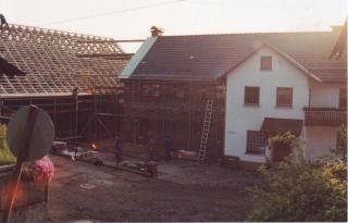 Woodwork on the barn roof to the property