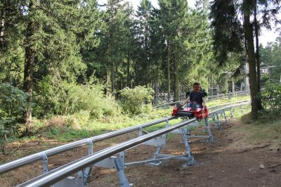 Rails guided All Weather toboggan run